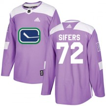 Jaime Sifers Vancouver Canucks Adidas Youth Authentic Fights Cancer Practice Jersey - Purple