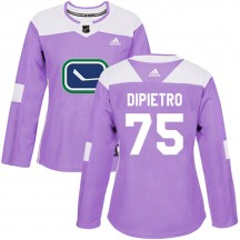 Michael DiPietro Vancouver Canucks Adidas Women's Authentic Fights Cancer Practice Jersey - Purple
