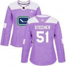 Troy Stecher Vancouver Canucks Adidas Women's Authentic Fights Cancer Practice Jersey - Purple